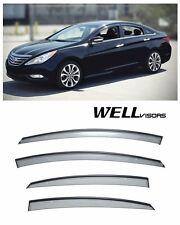 For 11-14 Hyundai Sonata WellVisors Side Window Deflectors Visors W/ Black Trim