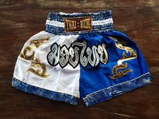 L Size Muay Thai Kick Boxing MMA Shorts Trunks Pants Satin White/Blue Color