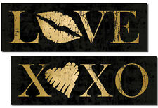 NEW Gold XOXO and Love Kiss Heart Print, Two 18X6 Posters