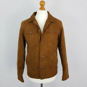 Pull & Bear Mens Tan Brown Faux Suede Soft Long Sleeve Collared Jacket Size M