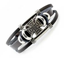 A58 Leder Armband Surfer Malteser Kreuz Herren Leather Bracelet Biker Rocker Men
