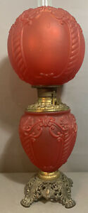 Antique VICTORIAN GWTW Gone with the Wind STYLE Old RUBY RED Pattern Glass LAMP
