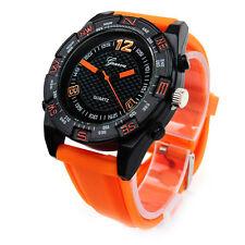Orange Black Large Case Geneva Sport Rubber Band Men's Quartz Watch