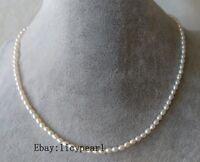 3-3.5 mm AAA weiß Süßwasser Perle Halskette, 15-60 inches