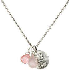 "Satya Jewelry ""Classics"" Rose Quartz Lotus Pendent Necklace, 18"