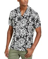 INC Mens Shirt White Black Size Small S Button Down Abstract Printed $55 #366