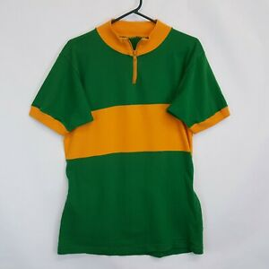 VTG 70s Cotton Cycling Bike Jersey Striped Color Block Robin Zip Polo Sz S M