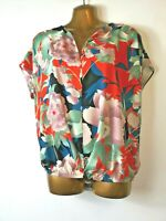 George 14/16 red green cap sleeve silky crepe loose tropical design top blouse