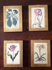 Set of Four Italian Floral Prints on Wood Plaques, 5x7in