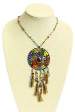 "Glass Crystal Artisan Beads 24"" Ne201 Multicolored Dream Catcher Necklace Glitzy"