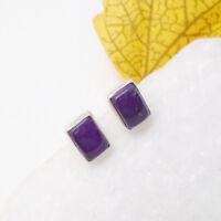 Amethyst lila violett eckig Design Ohrringe Ohrstecker 925 Sterling Silber neu