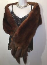 Vintage mink stole. Deep rich shiny pelts with alternating length tails. 6' long