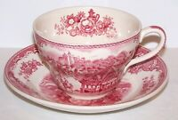 LOVELY VINTAGE JOHNSON BROTHERS ENGLAND PINK BRITAIN CASTLES JUMBO CUP