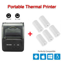 Portable 58mm Bluetooth Thermal Printer 7.4V 2000mA Battery with Printing Paper