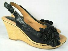 Born Boc Floral Wedge Heel Sandal Black Leather Strap Casual Women Shoe 8