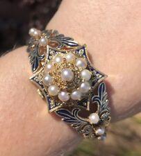 Vintage 14K Yellow Gold Heavy Enamel Seed Pearl Geneva Watch Bangle Bracelet