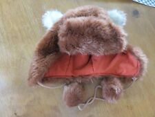 Cute Next Bear hat with ears and pom poms in light brown - one size