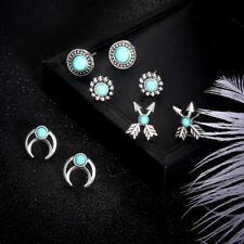 4Pair/set Antique Vintage Silver Arrow Totem Pine Nuts Moon Stud Earring Jewelry