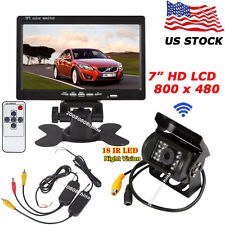"Bus Truck Trailer Wireless Reverse Rear View System 7"" LCD Monitor+Backup Camera"