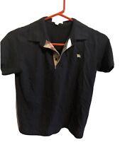 Burberry Boys Polo Collar Shirt Black Nova Check Size 14