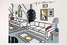 ROY LICHTENSTEIN HAND SIGNED *INTERIOR WITH MIRRORED WALL* COLOR PLATE W/ C.O.A.