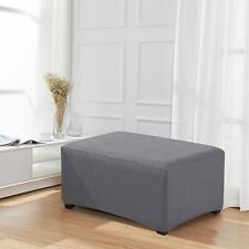 Enova Home Light Grey Jacquard Polyester Stretch Fabric Ottoman Slipcover