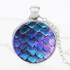 UK BLUE DRAGON EGG PENDANT NECKLACE / Jewellery Gift Idea Gothic Steampunk Scale