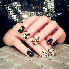 24Pcs Acrylic Designer Fake Nail tips French Full False Nails Art glue Finger LS