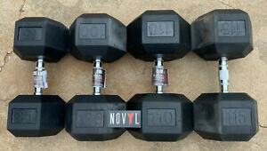 Weider Rubber Hex Dumbbells 85, 100, 110, & 115 lbs (Choose Singles or Pairs)