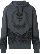 New $795 DOLCE & GABBANA Velvet-Flocked Hoodie Size 48 IT 100% Authentic