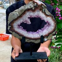11.74LB Natural Amethyst geode quartz cluster crystal specimen energy Healing