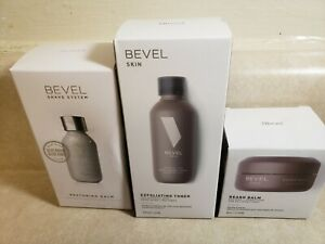 BEVEL TRIO MEN FACIAL RESTORING BALM EXFOLIATING TONER AND BEARD BALM