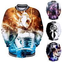 Men Women Baseball Uniform Coat Shirt Jacket Pullover Tops 3D Dragon Ball Print