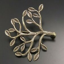 4PCS Bronze Tone Safety Pin Brooch Leaf Branch Antique Charms 36*33mm 02772