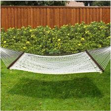 "Cotton Hammock 59"" Double Wide Solid Wood Spreader Outdoor Patio Yard Lazy Fun"