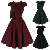 Hearts & Roses London Lux Velvet Leopard 1950s Vintage Retro Party Dress