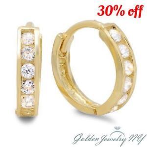 14K Yellow/White Gold Huggie Hoop Earrings Clear 1 Row Cubic Zirconia  5 Sizes.