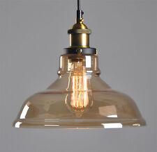 Modern Amber Vintage Pendant Ceiling Light Glass Lampshade Fitting Brass Loft