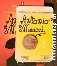 ITALIA moneta 5 € rame 150° anniversario invenzione del telefono MEUCCI 2021