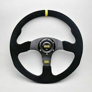 350mm Suede Leather Flat Steering Wheel Fit for OMP Hub Boss Kit Yellow Stripe