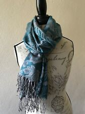 NEW Scarf mens STOLE long Wrap Fringe Shawl Indian GREEN gray soft scarves USA