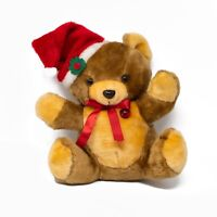 Vintage Musical Christmas Brown Teddy Bear Light Up Heart Plush Plays Songs 13""