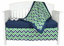 Green and Navy Blue Zig Zag and Big Dots 4 Piece Baby Crib Bedding Set