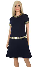 Vintage 60s Carlye MOD MINI SHIFT DRESS Navy Blue Wool Metallic Embellishment -M