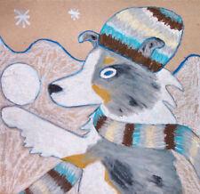 Sheltie Silver-White Winter Pop Art Print 8x8 Shetland Sheepdog Collectible Dog