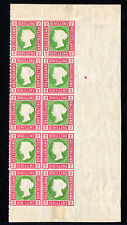 heligoland 2 schilling right side block of 10 #3 1867 rouletted 10 certified