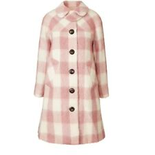 ORLA KIELY Brushed Check Lowrie Coat Pink Cream Uk 12| Jacket Bag Dress Shirt