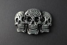 50f8a01db68 3 Jour des Morts Crâne en un Métal Boucle Ceinture Gris   Noir Foncé