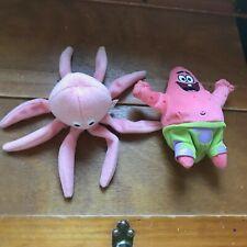 Lot of 2 Small Plush Ty 1993 INKY Pink Octopus & SpongeBob Square Pants PATRICK