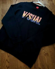 V/Sual Long Sleeve Pullover Sweater Cities NY Skyscrapers Black Mens Large Warm